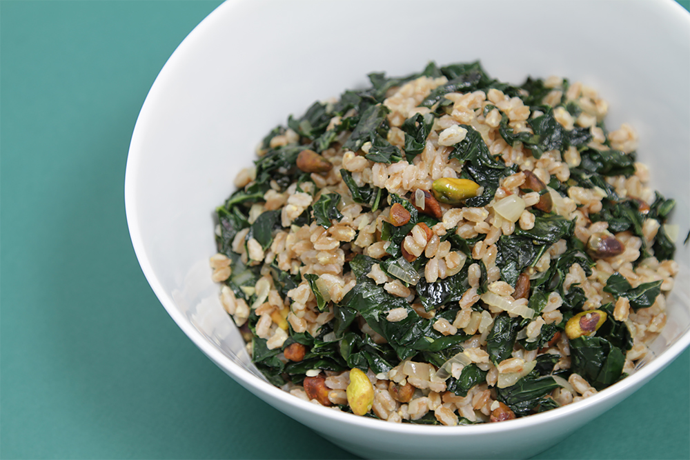 Farro with sautéed Tuscan kale and pistachios